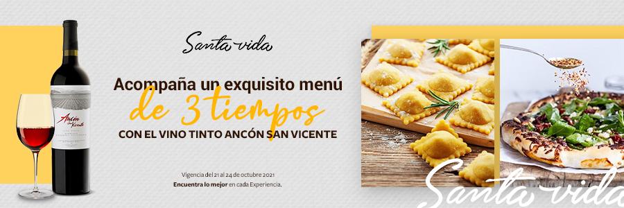 """Cena de 3 tiempos con Santa Vida + Vino tinto """"Ancón San Vicente"""""""